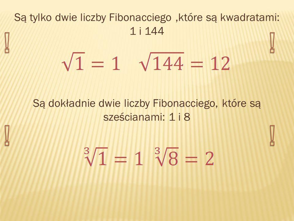 ! ! ! ! Są tylko dwie liczby Fibonacciego ,które są kwadratami: