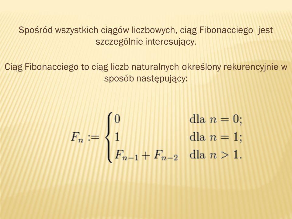 Spośród wszystkich ciągów liczbowych, ciąg Fibonacciego jest szczególnie interesujący.