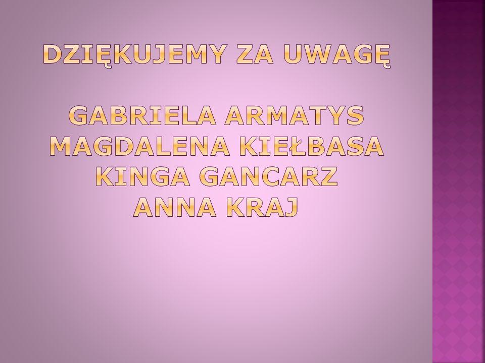Dziękujemy za uwagę Gabriela armatys magdalena kiełbasa Kinga gancarz anna kraj
