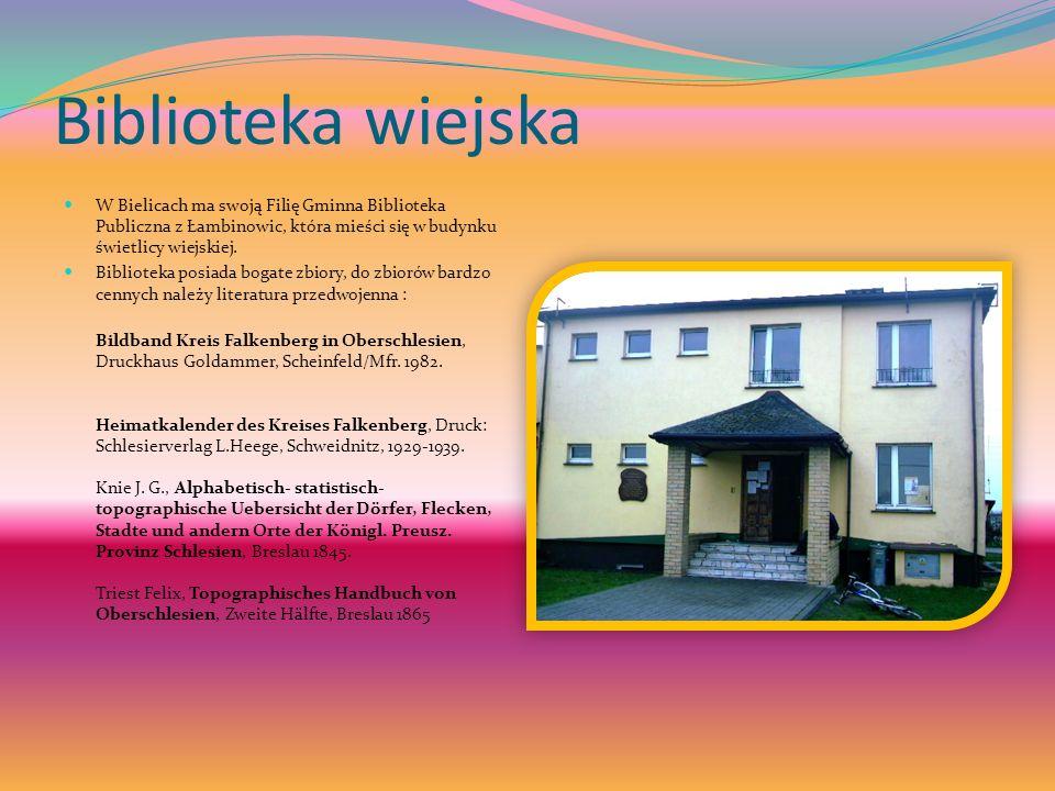 Biblioteka wiejska W Bielicach ma swoją Filię Gminna Biblioteka Publiczna z Łambinowic, która mieści się w budynku świetlicy wiejskiej.