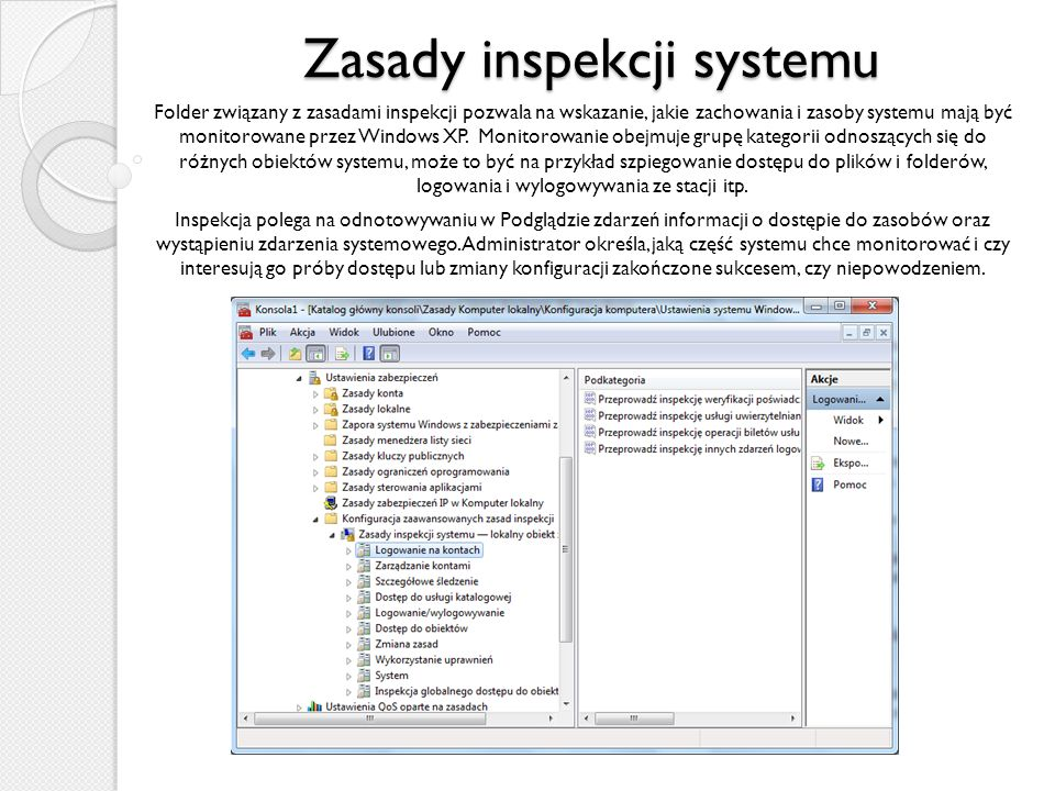 Zasady inspekcji systemu