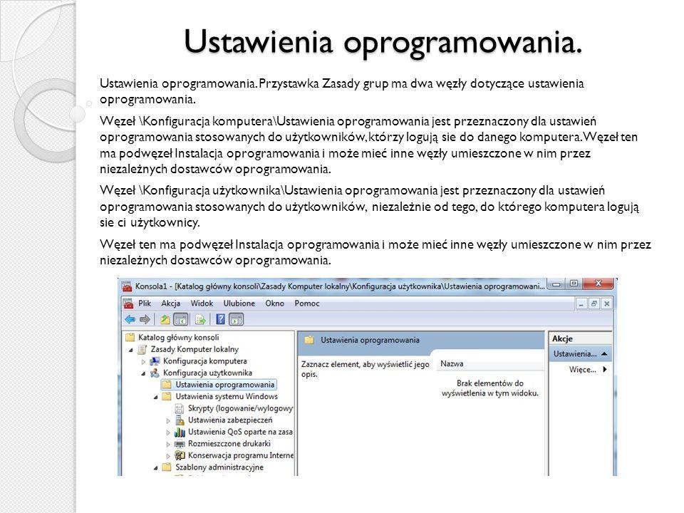 Ustawienia oprogramowania.