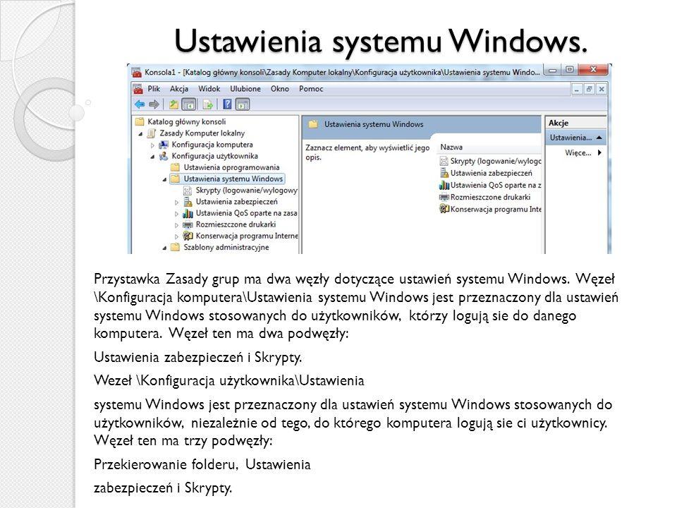 Ustawienia systemu Windows.