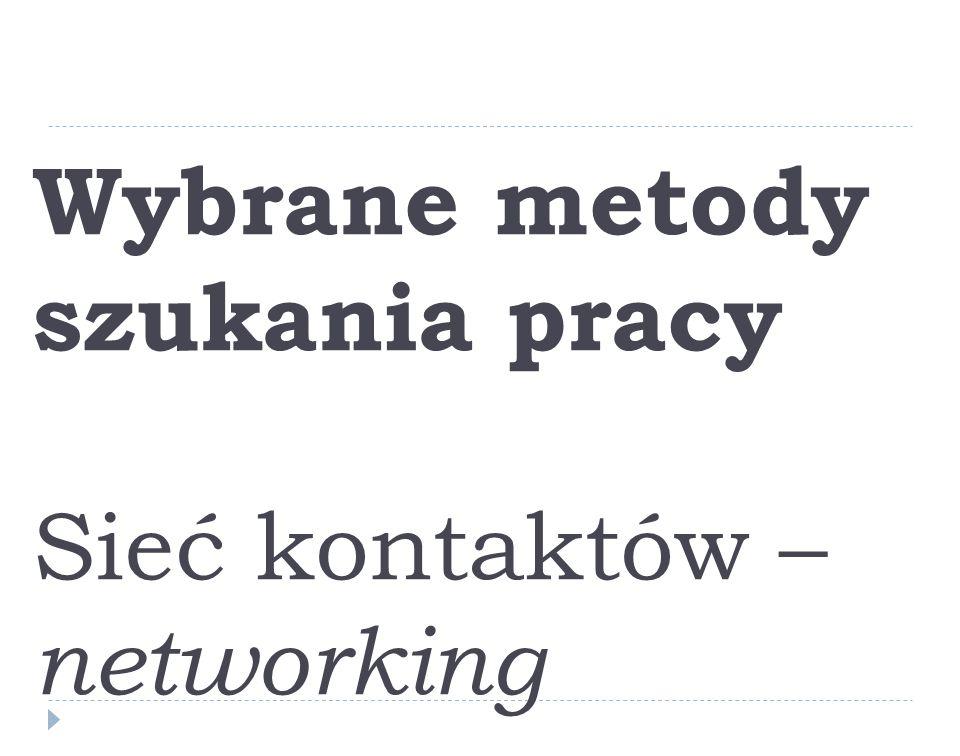 Wybrane metody szukania pracy Sieć kontaktów – networking