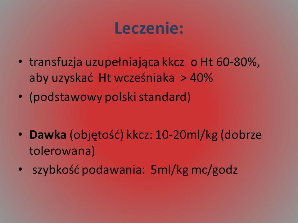 Leczenie: transfuzja uzupełniająca kkcz o Ht 60-80%, aby uzyskać Ht wcześniaka > 40% (podstawowy polski standard)