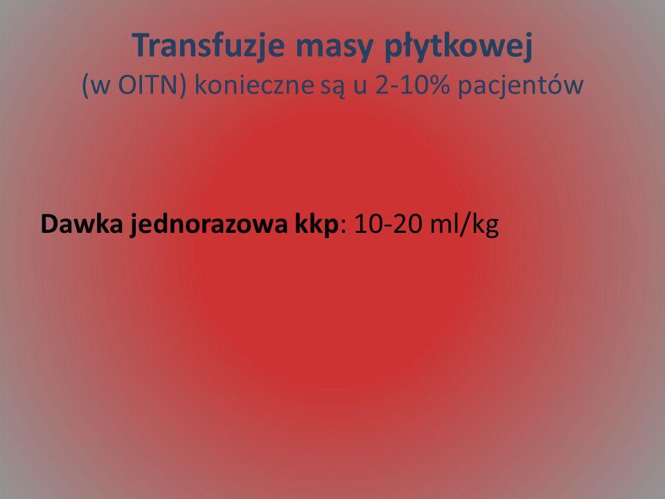 Transfuzje masy płytkowej (w OITN) konieczne są u 2-10% pacjentów