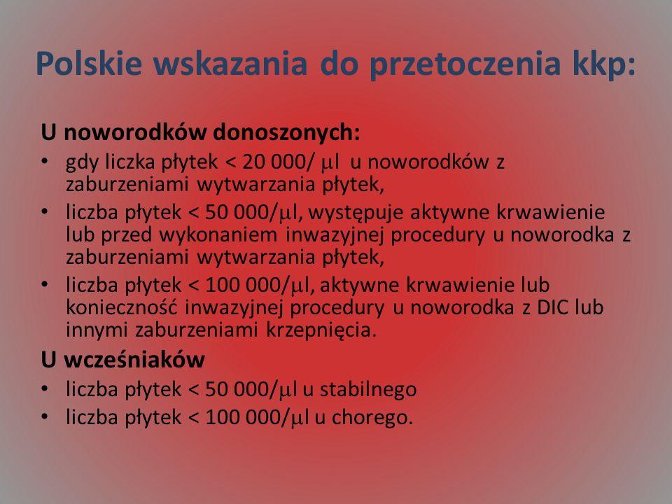 Polskie wskazania do przetoczenia kkp:
