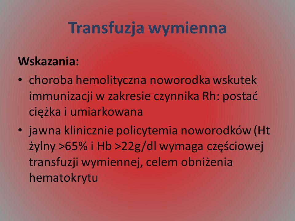 Transfuzja wymienna Wskazania: