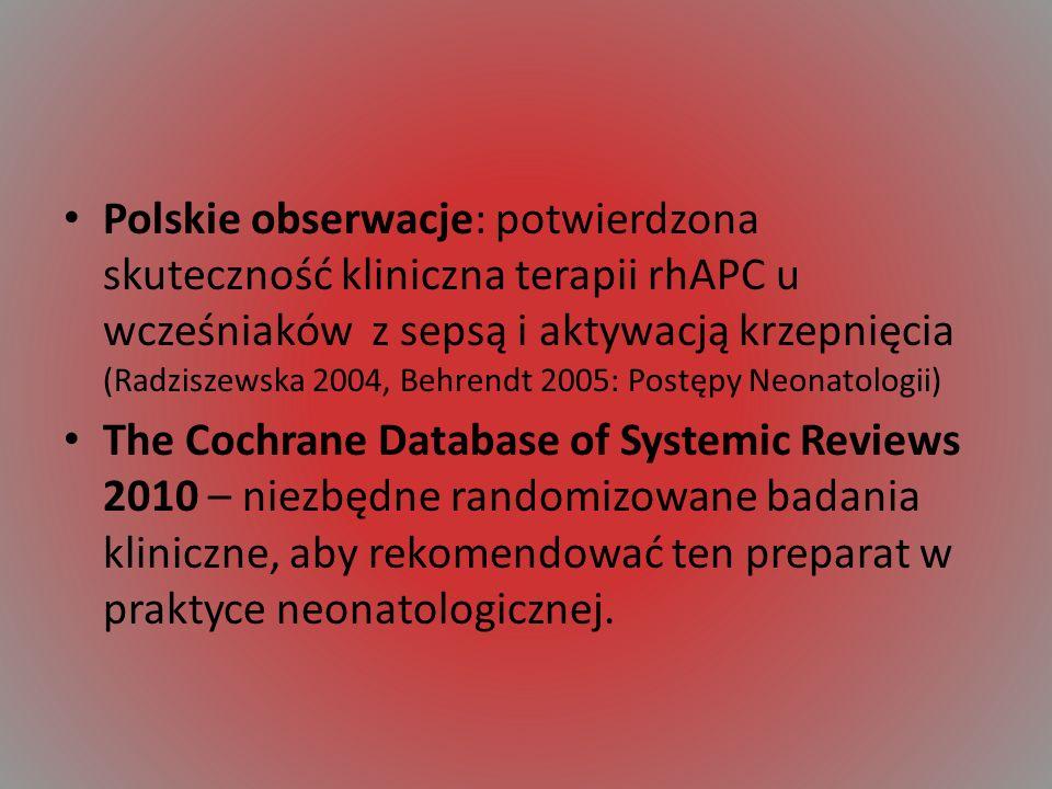 Polskie obserwacje: potwierdzona skuteczność kliniczna terapii rhAPC u wcześniaków z sepsą i aktywacją krzepnięcia (Radziszewska 2004, Behrendt 2005: Postępy Neonatologii)