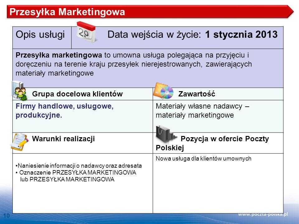 Przesyłka Marketingowa Opis usługi