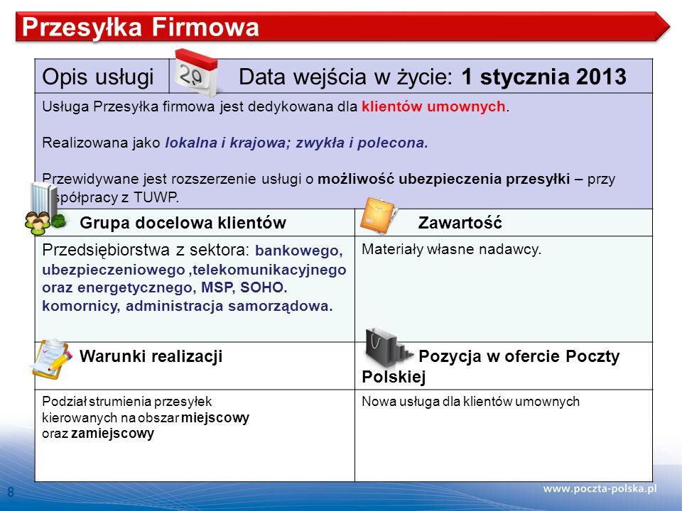 Przesyłka Firmowa Opis usługi Data wejścia w życie: 1 stycznia 2013