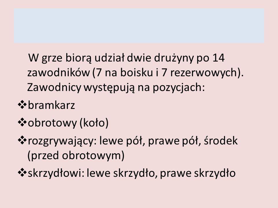 W grze biorą udział dwie drużyny po 14 zawodników (7 na boisku i 7 rezerwowych). Zawodnicy występują na pozycjach: