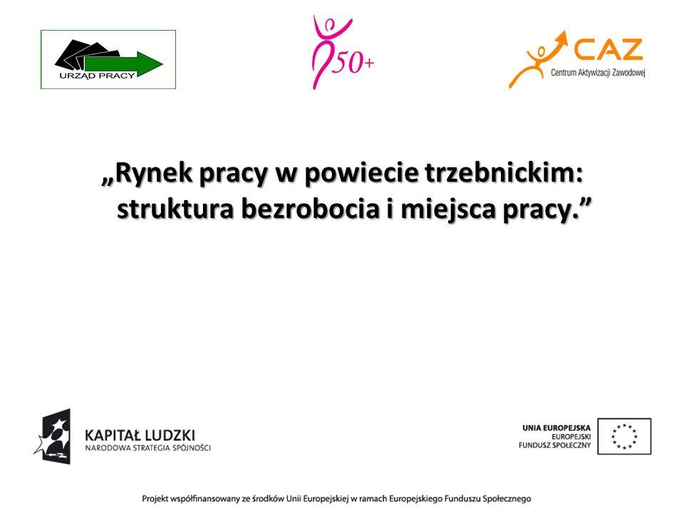 """""""Rynek pracy w powiecie trzebnickim: struktura bezrobocia i miejsca pracy."""