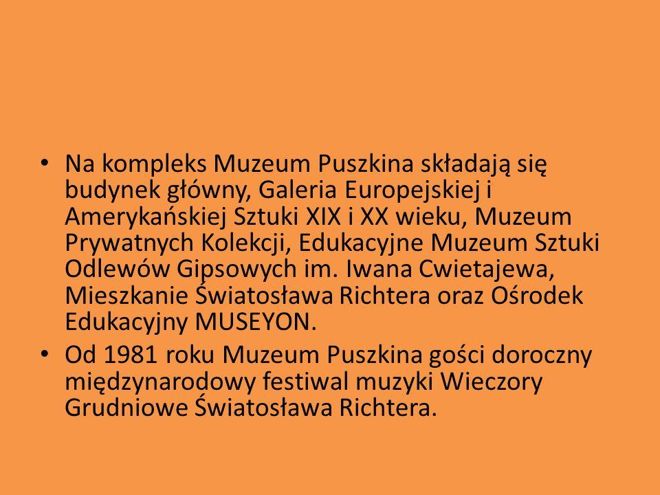 Na kompleks Muzeum Puszkina składają się budynek główny, Galeria Europejskiej i Amerykańskiej Sztuki XIX i XX wieku, Muzeum Prywatnych Kolekcji, Edukacyjne Muzeum Sztuki Odlewów Gipsowych im. Iwana Cwietajewa, Mieszkanie Światosława Richtera oraz Ośrodek Edukacyjny MUSEYON.