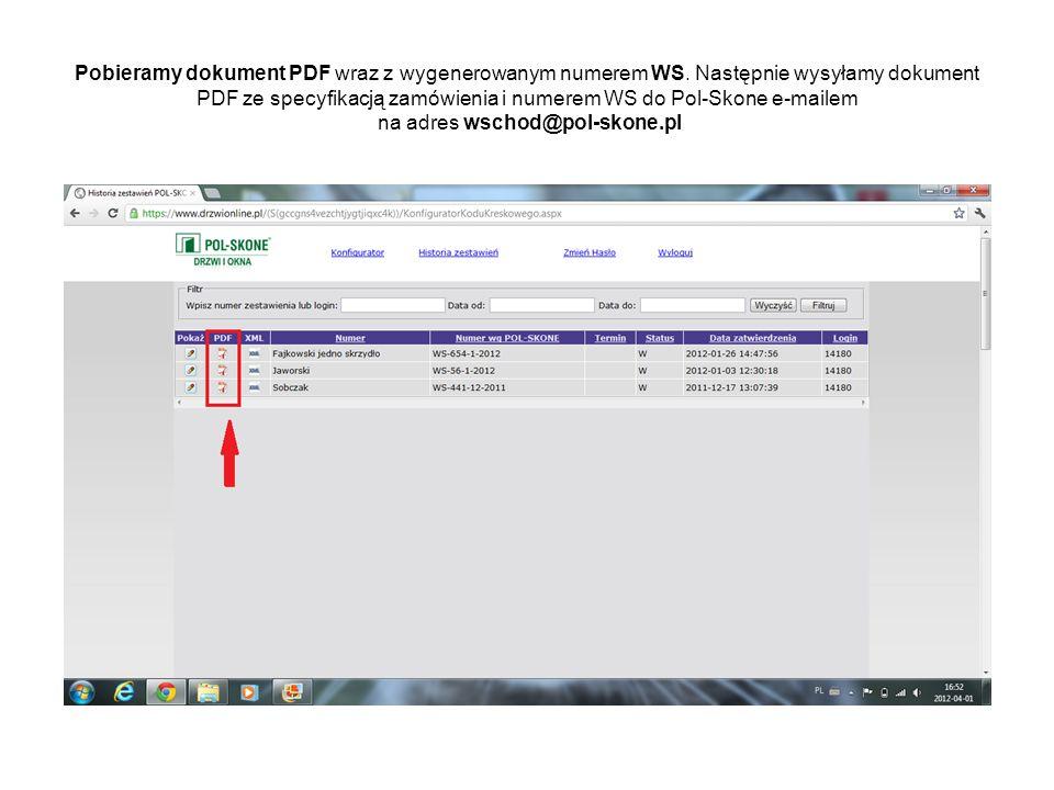 Pobieramy dokument PDF wraz z wygenerowanym numerem WS
