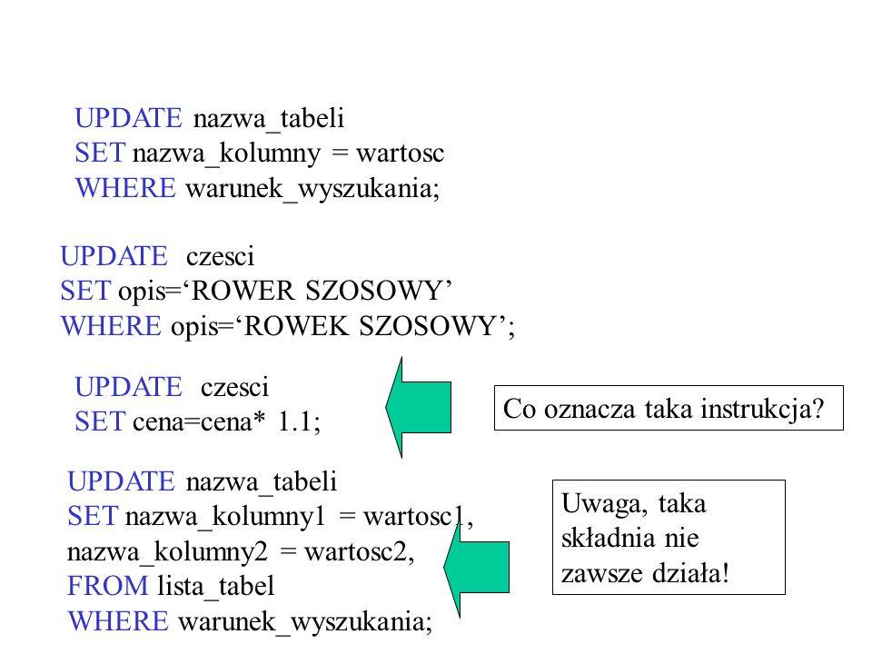 UPDATE nazwa_tabeli SET nazwa_kolumny = wartosc. WHERE warunek_wyszukania; UPDATE czesci. SET opis='ROWER SZOSOWY'