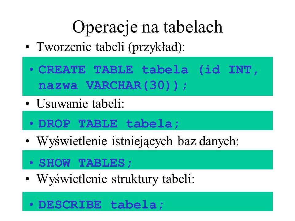 Operacje na tabelach Tworzenie tabeli (przykład):