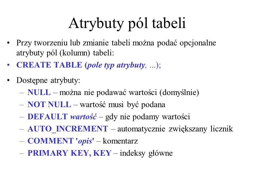 Atrybuty pól tabeliPrzy tworzeniu lub zmianie tabeli można podać opcjonalne atrybuty pól (kolumn) tabeli:
