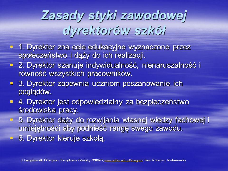 Zasady styki zawodowej dyrektorów szkół