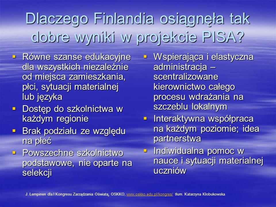 Dlaczego Finlandia osiągnęła tak dobre wyniki w projekcie PISA
