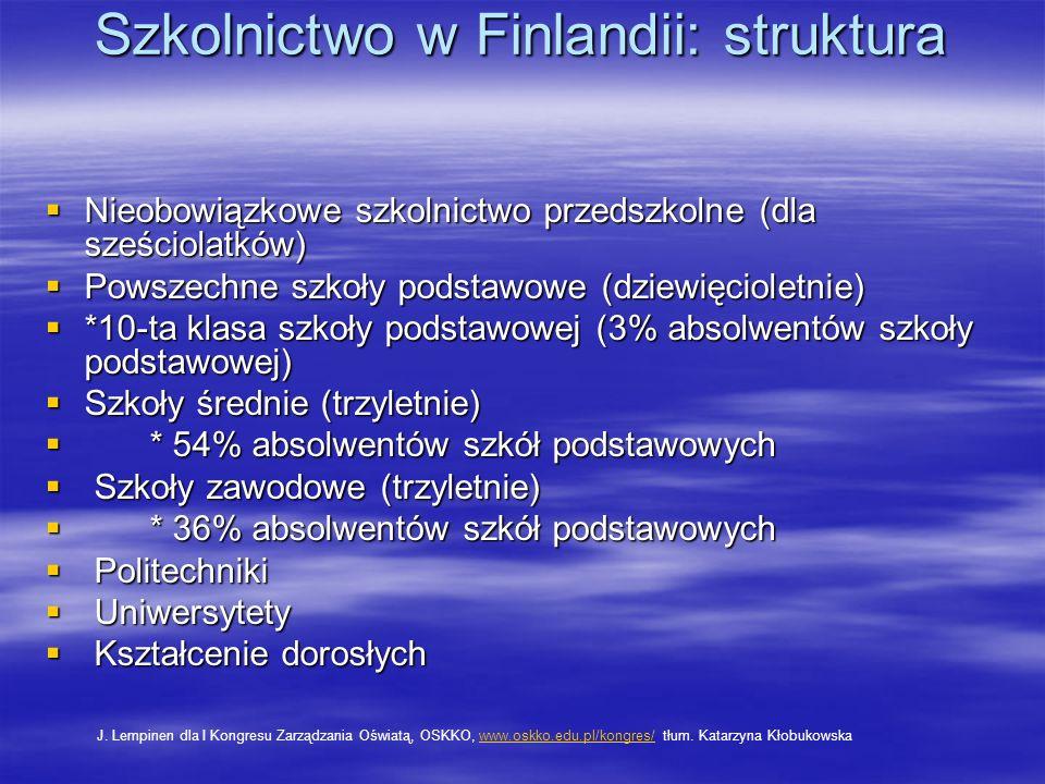 Szkolnictwo w Finlandii: struktura