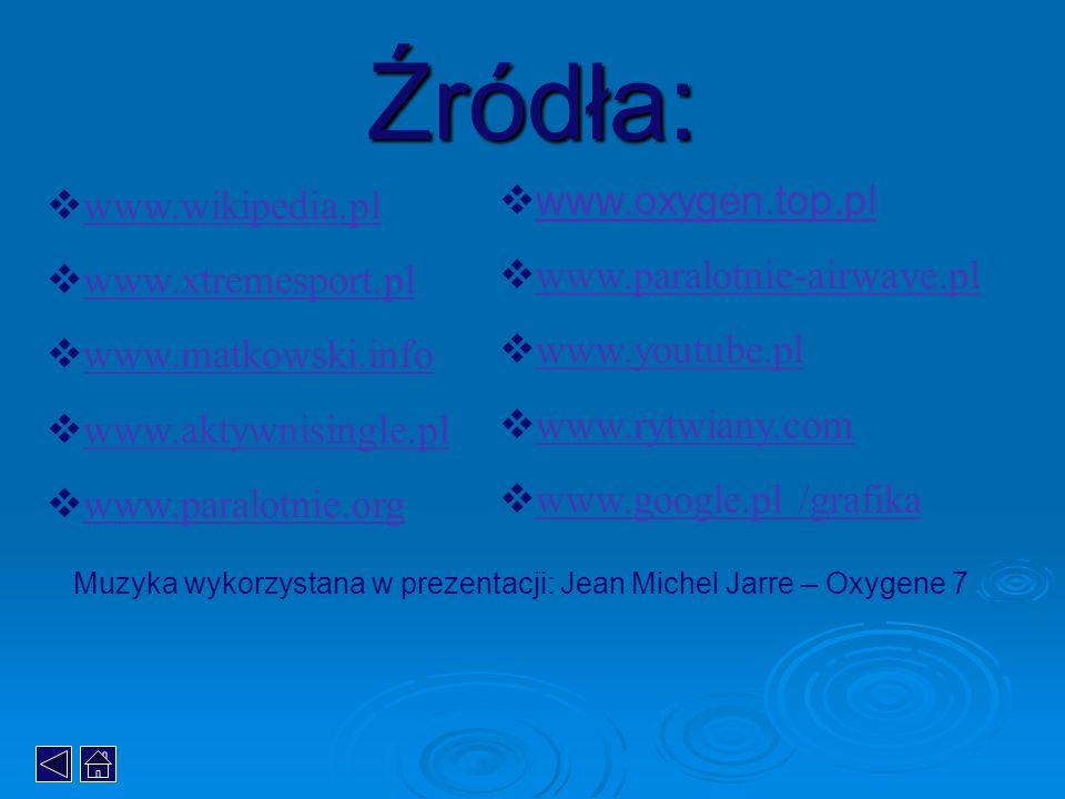 Źródła: www.oxygen.top.pl www.wikipedia.pl www.paralotnie-airwave.pl