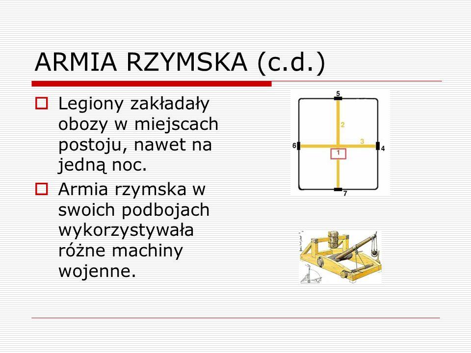 ARMIA RZYMSKA (c.d.)Legiony zakładały obozy w miejscach postoju, nawet na jedną noc.