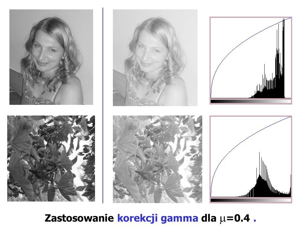 Zastosowanie korekcji gamma dla =0.4 .