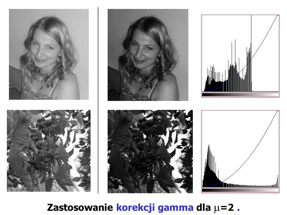 Zastosowanie korekcji gamma dla =2 .