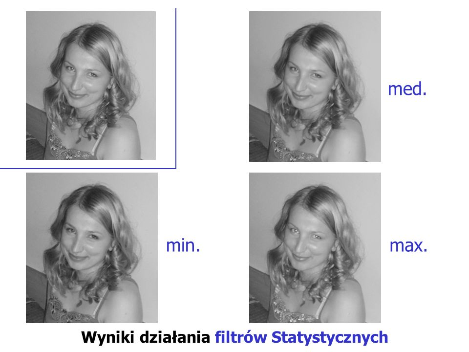 Wyniki działania filtrów Statystycznych