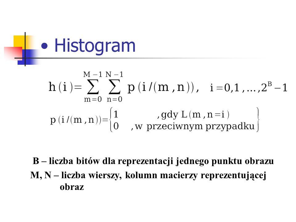 Histogram B – liczba bitów dla reprezentacji jednego punktu obrazu
