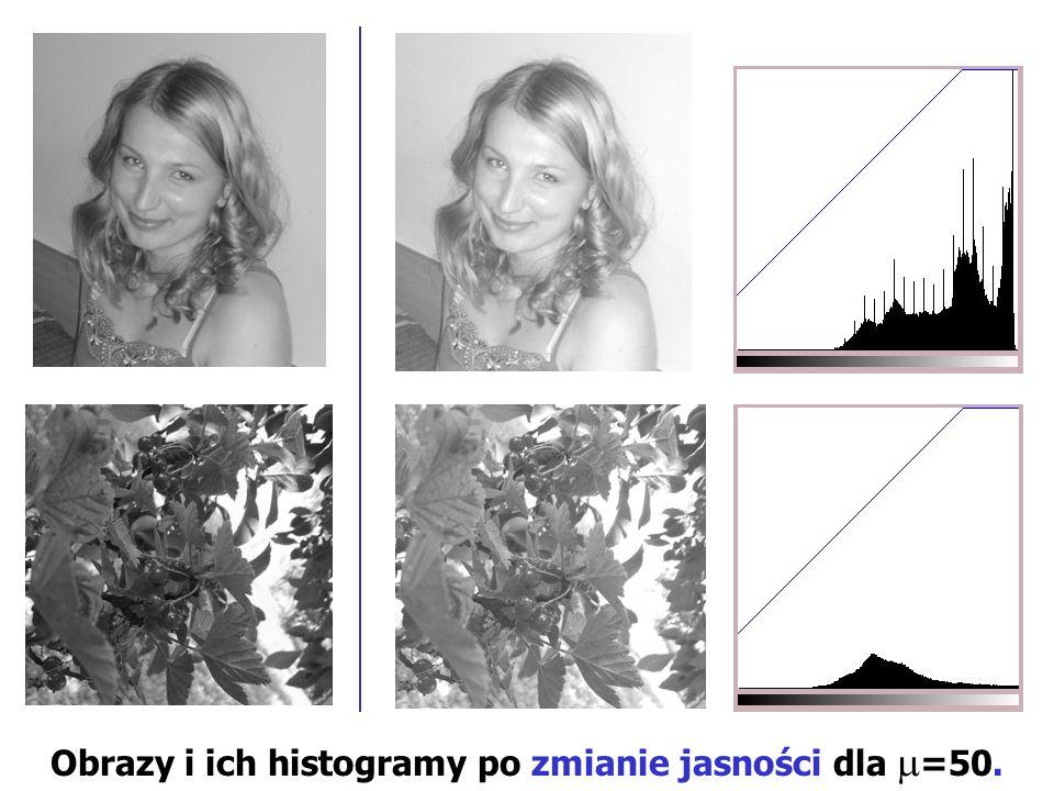 Obrazy i ich histogramy po zmianie jasności dla =50.
