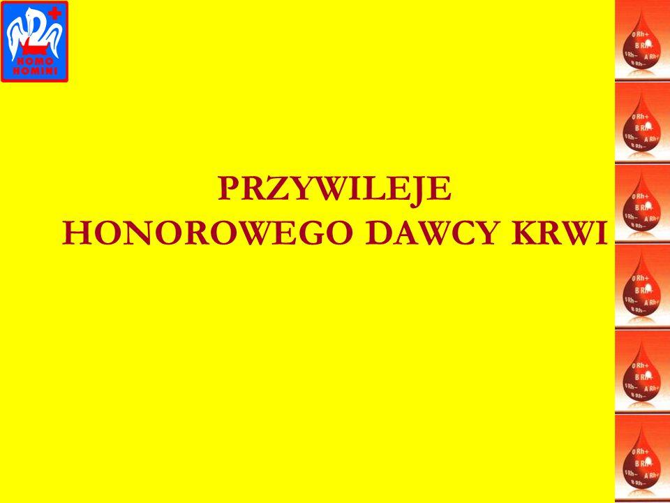 PRZYWILEJE HONOROWEGO DAWCY KRWI