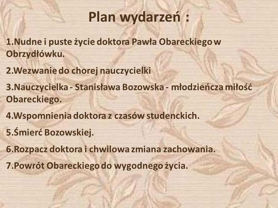 Plan wydarzeń :1.Nudne i puste życie doktora Pawła Obareckiego w Obrzydłówku. 2.Wezwanie do chorej nauczycielki.