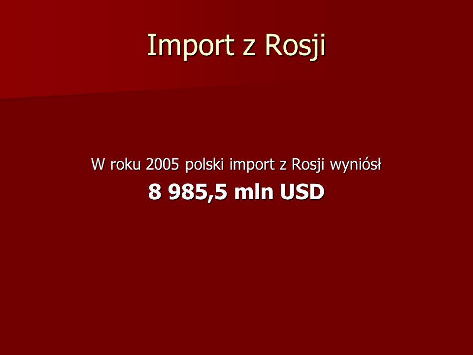 W roku 2005 polski import z Rosji wyniósł