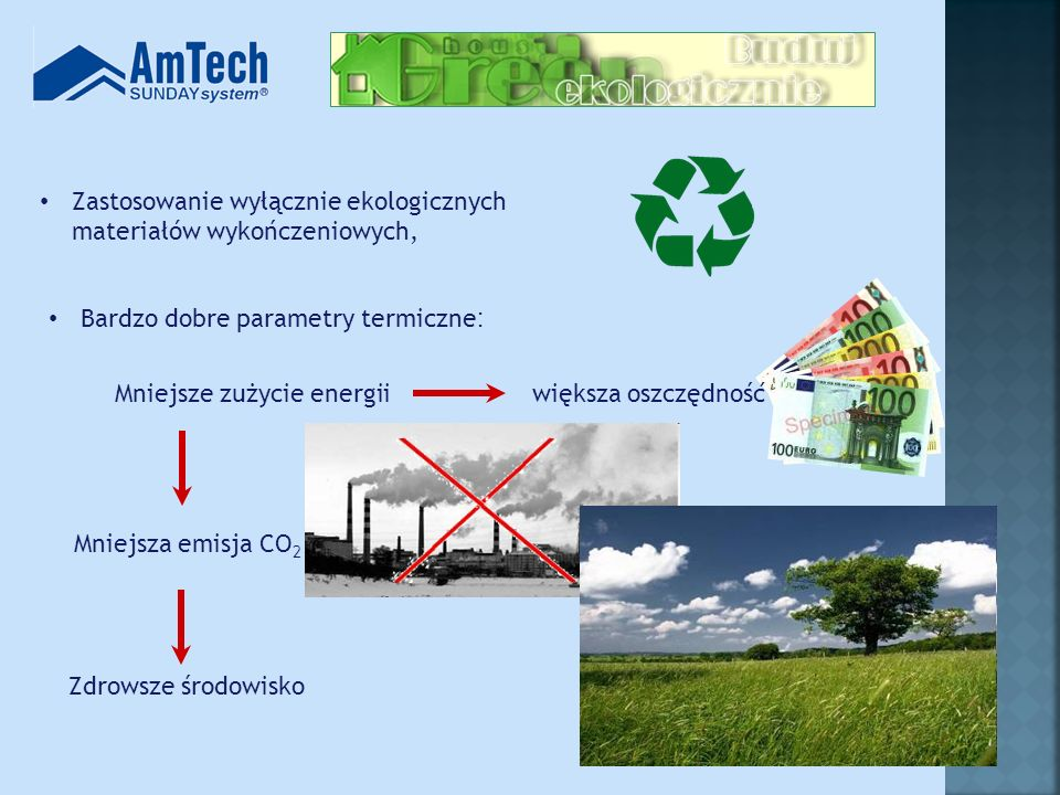 Zastosowanie wyłącznie ekologicznych materiałów wykończeniowych,