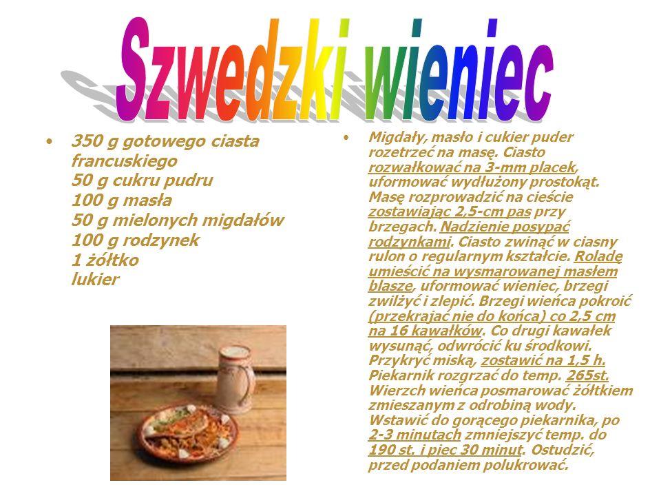 Szwedzki wieniec 350 g gotowego ciasta francuskiego 50 g cukru pudru 100 g masła 50 g mielonych migdałów 100 g rodzynek 1 żółtko lukier.