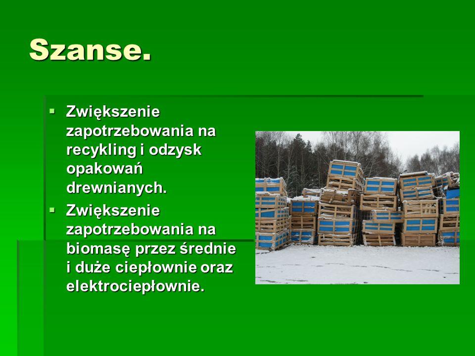 Szanse. Zwiększenie zapotrzebowania na recykling i odzysk opakowań drewnianych.