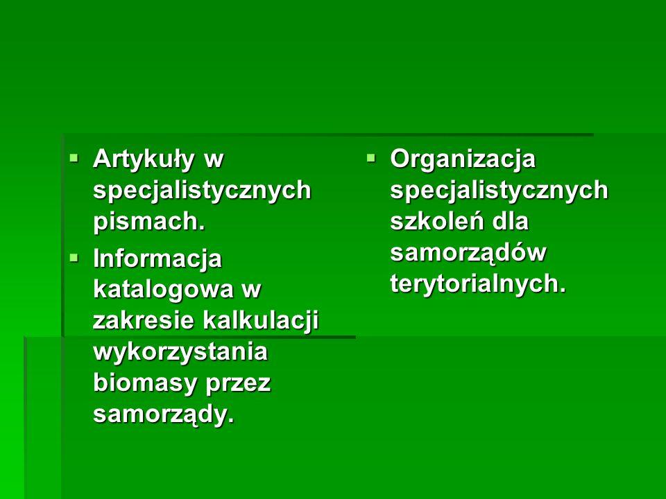 Artykuły w specjalistycznych pismach.