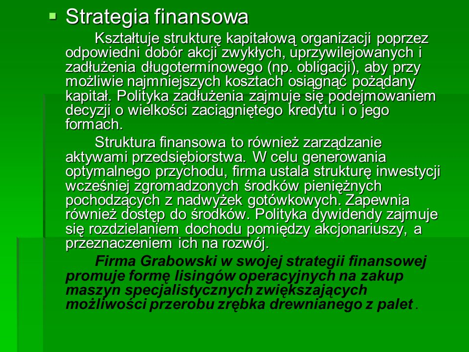 Strategia finansowa