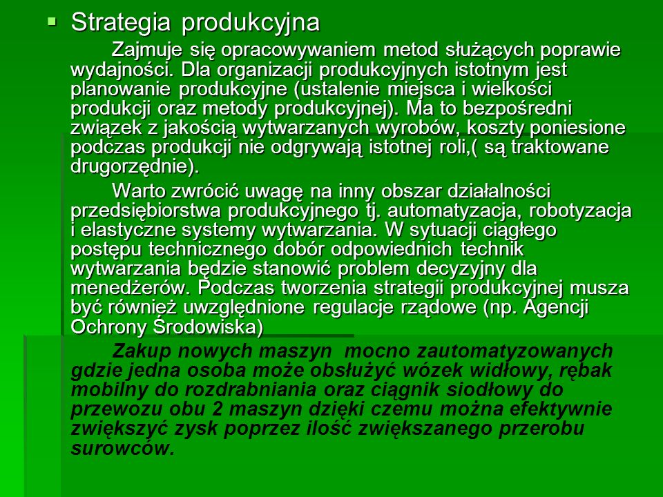 Strategia produkcyjna