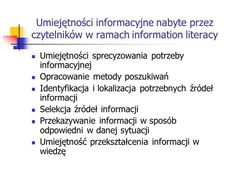 Umiejętności informacyjne nabyte przez czytelników w ramach information literacy