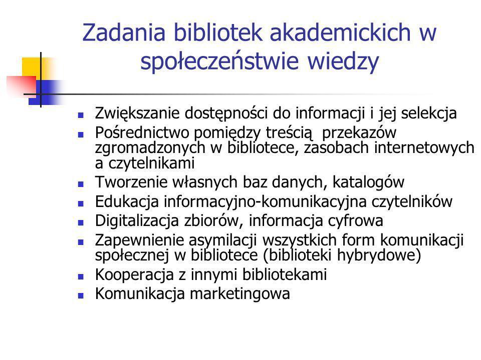 Zadania bibliotek akademickich w społeczeństwie wiedzy