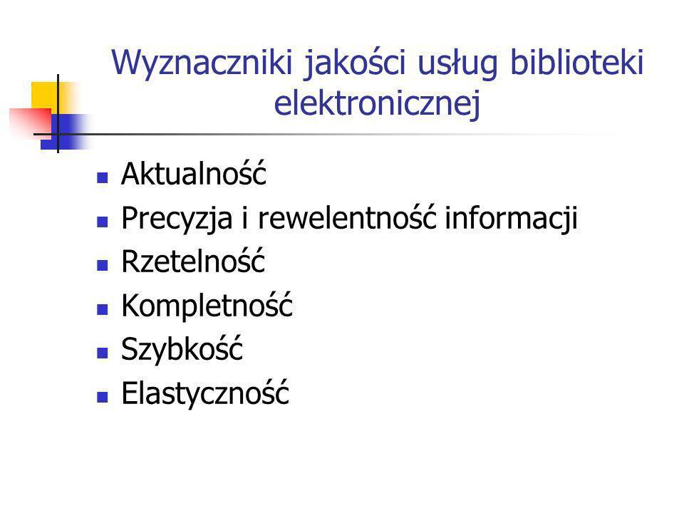 Wyznaczniki jakości usług biblioteki elektronicznej