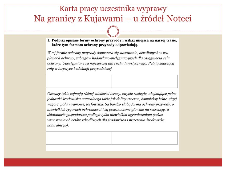 Karta pracy uczestnika wyprawy Na granicy z Kujawami – u źródeł Noteci