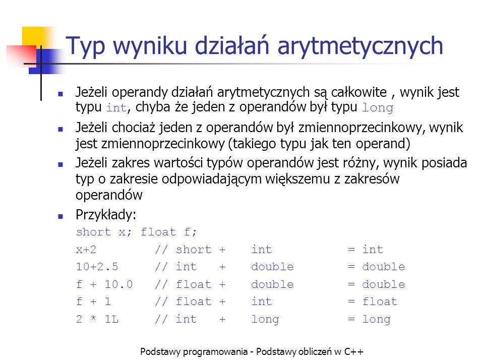 Typ wyniku działań arytmetycznych