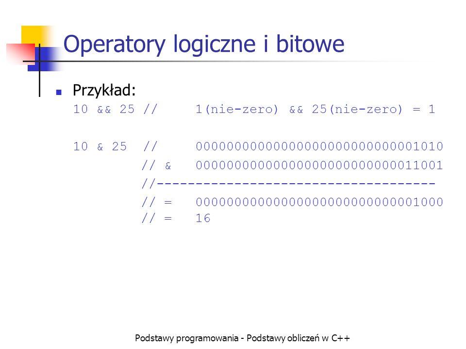 Operatory logiczne i bitowe