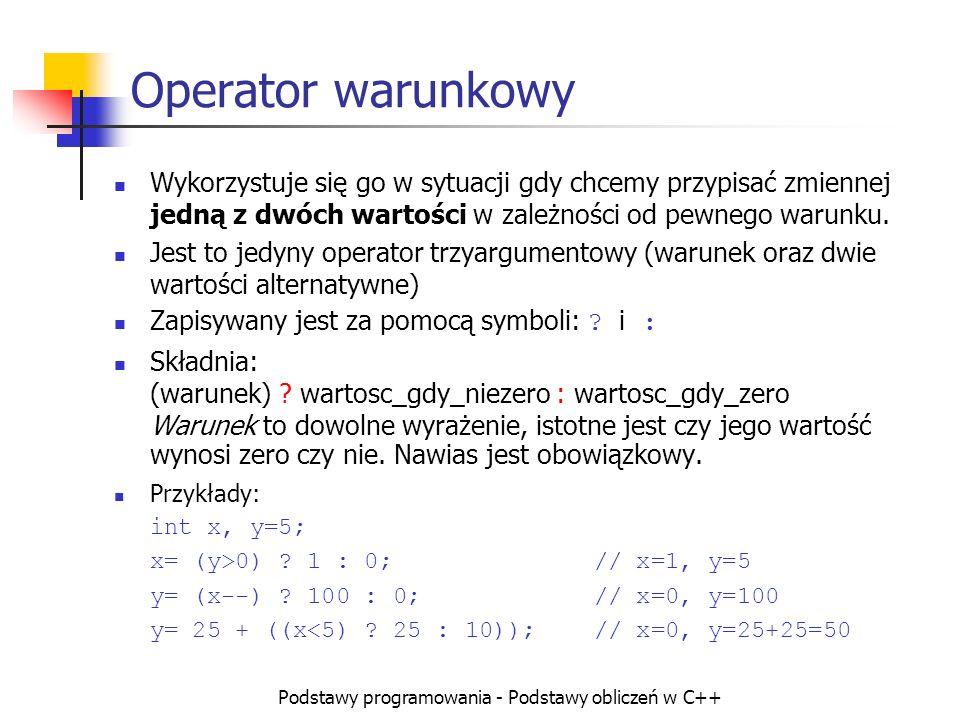 Podstawy programowania - Podstawy obliczeń w C++