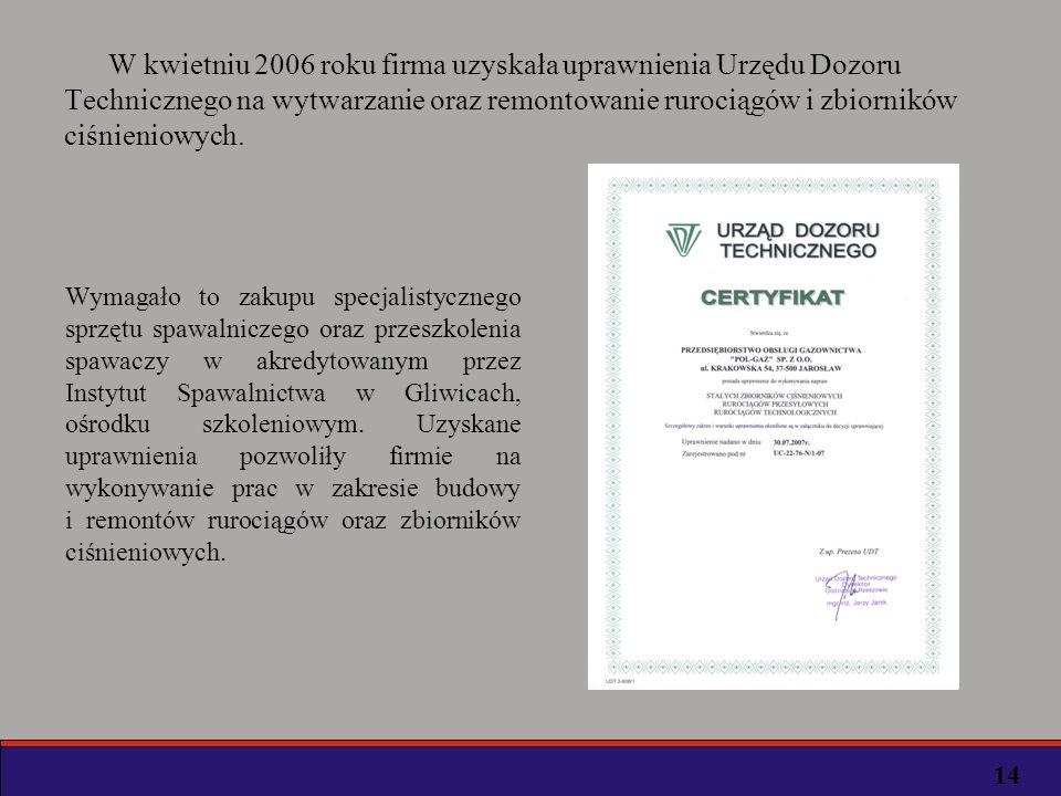 W kwietniu 2006 roku firma uzyskała uprawnienia Urzędu Dozoru Technicznego na wytwarzanie oraz remontowanie rurociągów i zbiorników ciśnieniowych.