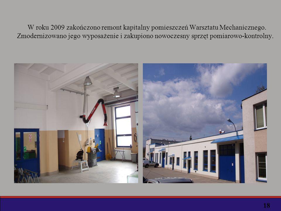 W roku 2009 zakończono remont kapitalny pomieszczeń Warsztatu Mechanicznego. Zmodernizowano jego wyposażenie i zakupiono nowoczesny sprzęt pomiarowo-kontrolny.